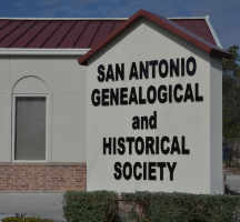 San Antonio Genealogical and Historical Society sign along Blanco Road side of campus